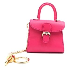 Mini Brillant Charm Holder Pink Leather Satchel